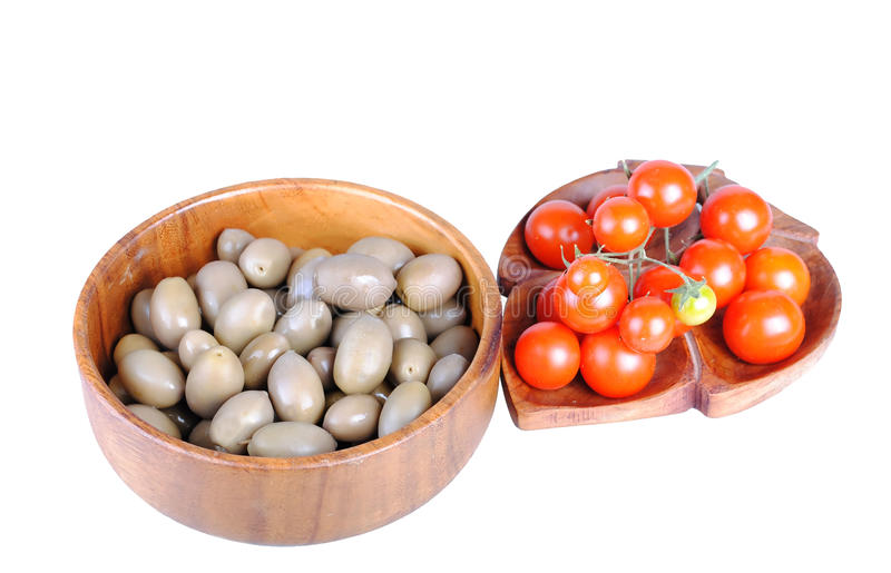 Tomatos and olives royalty free stock photos