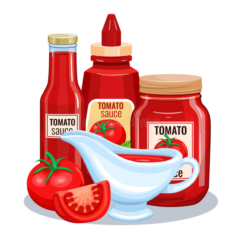 Tomatsås, ketchup vektor illustrationer
