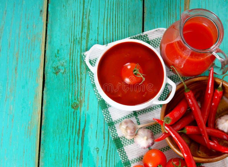 Tomatsås och kryddor royaltyfri foto