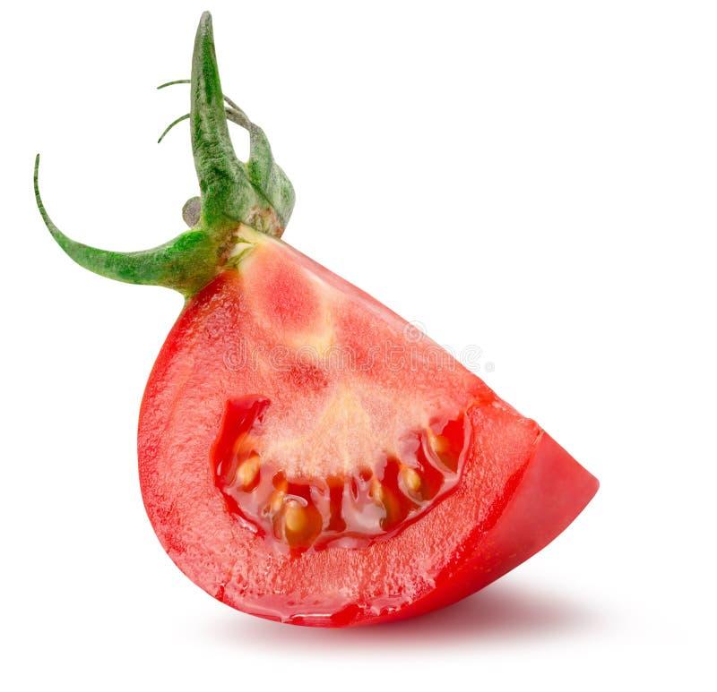 Tomatskiva som isoleras på den vita bakgrunden arkivfoton