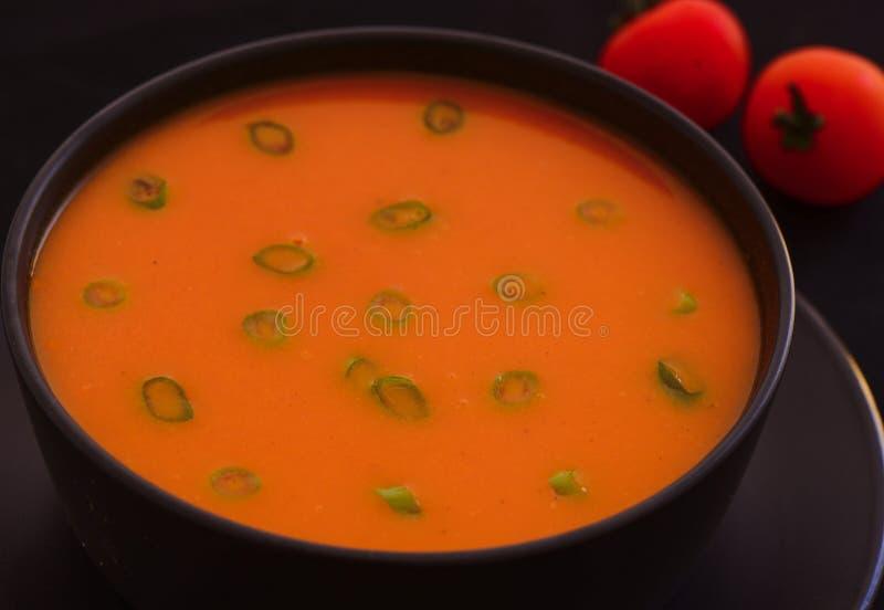 TomatSoppa-goda aptitretare för kvällsmål arkivbilder