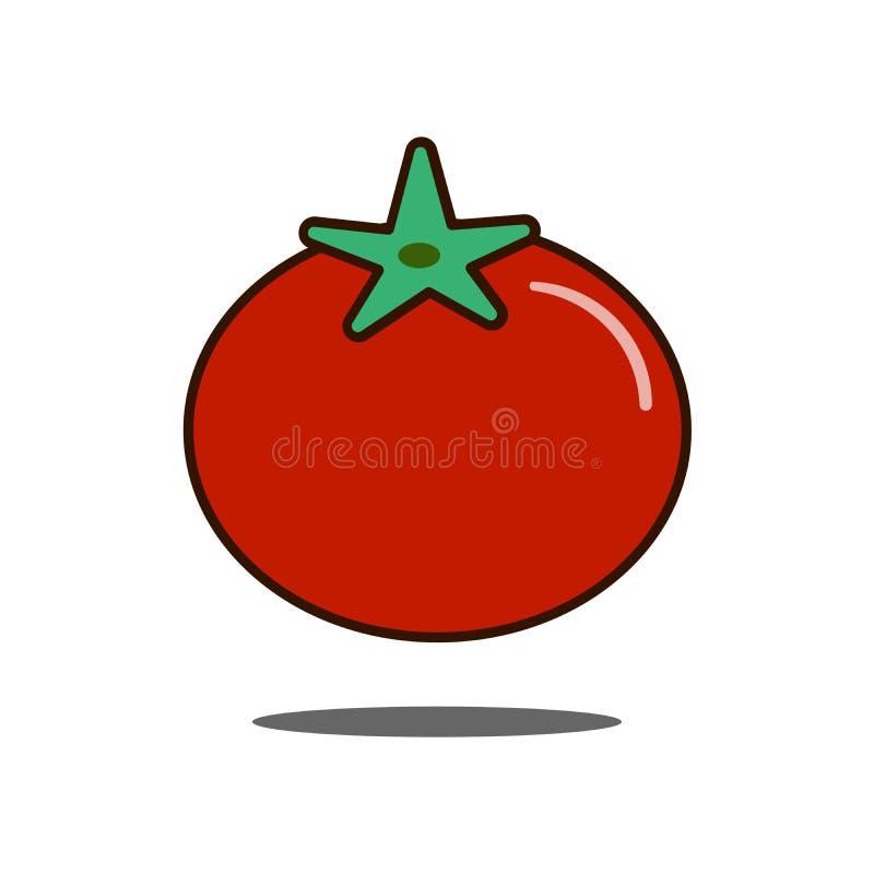 Tomatsymbol, fyllt översiktsvektortecken, linjär färgrik plan pictogram som isoleras på vit Logoillustration royaltyfri illustrationer