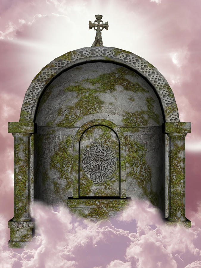 Tomb. In the sky with moss stock illustration