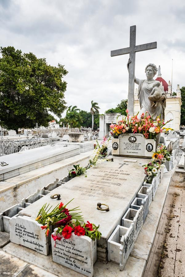"Miracle Tomb - Colon Cemetery - Havana, Cuba. Tomb of Amelia Goyri, ""La Milagrosa."" The legend goes that after she died in childbirth, her husband stock images"