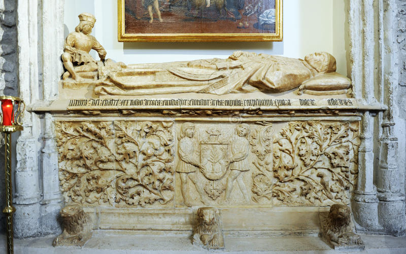 Sepulcher in the Chapel of the Coca, church of San Pedro de Ciudad Real, Spain. Tomb of the Chantre de Coria buried in the Chapel of the Coca located inside the stock image