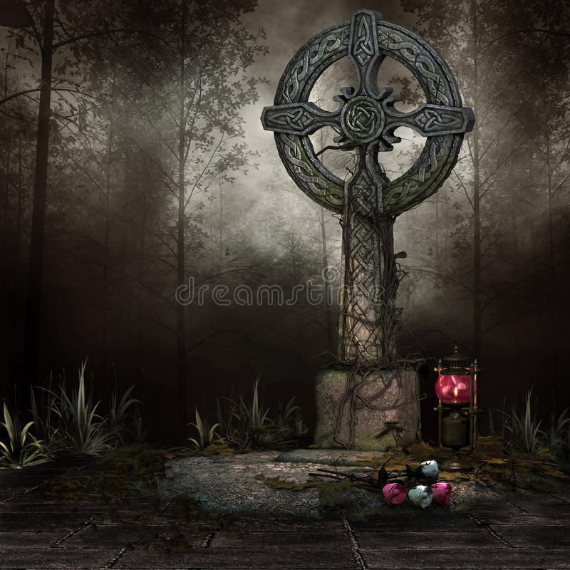 Tomb with a cross. Old tomb with a cross, lanterns and flowers stock illustration