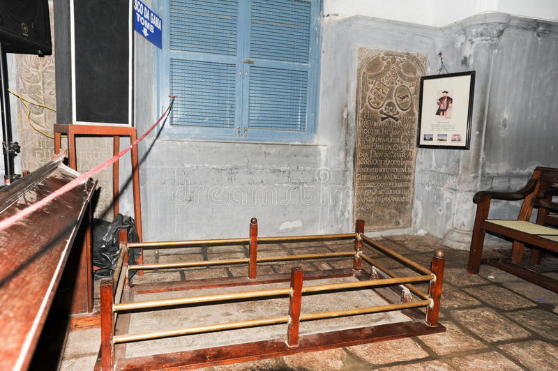 Tomb of the discoverer of the sea route to India Vasco da Gama. On St. Francis church at Fort Cochin stock images