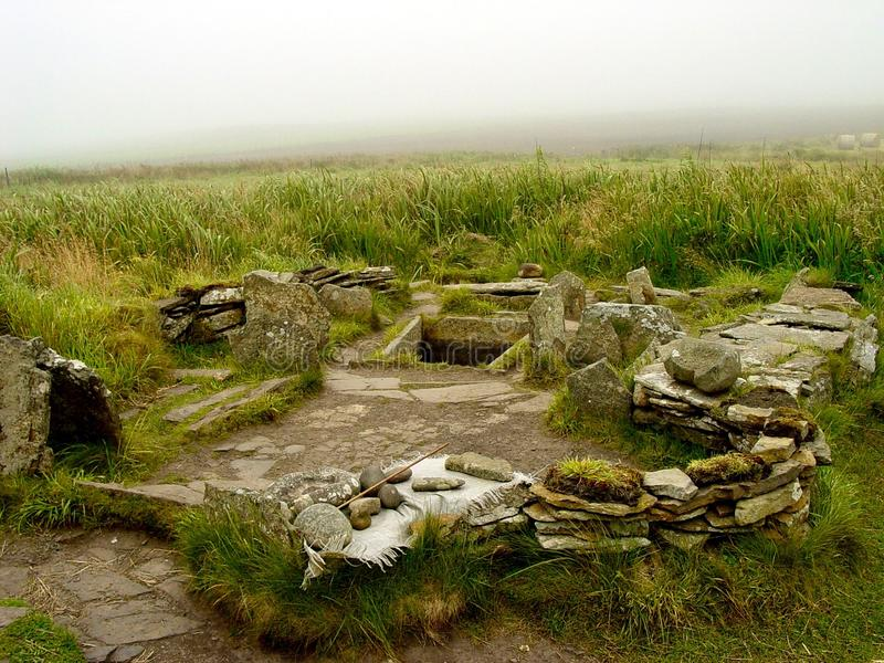 Tomb of the Eagles. Neolithic tomb of the eagles, Main Island, the Orkneys stock image