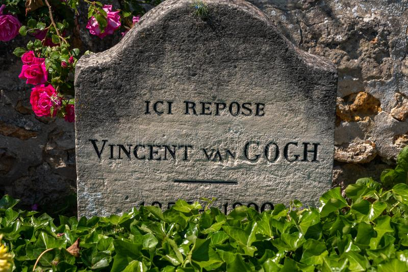 Van Gogh Tomb. The tomb of the famous artist, painter, Vincent Van Gogh at Auvers-sur-Oise, France stock image