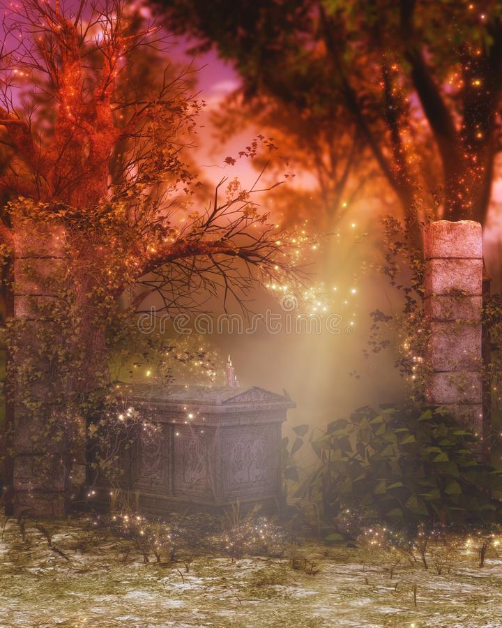 Tomb fantasy background. With sunlight and sparkles amoung trees and bushes vector illustration