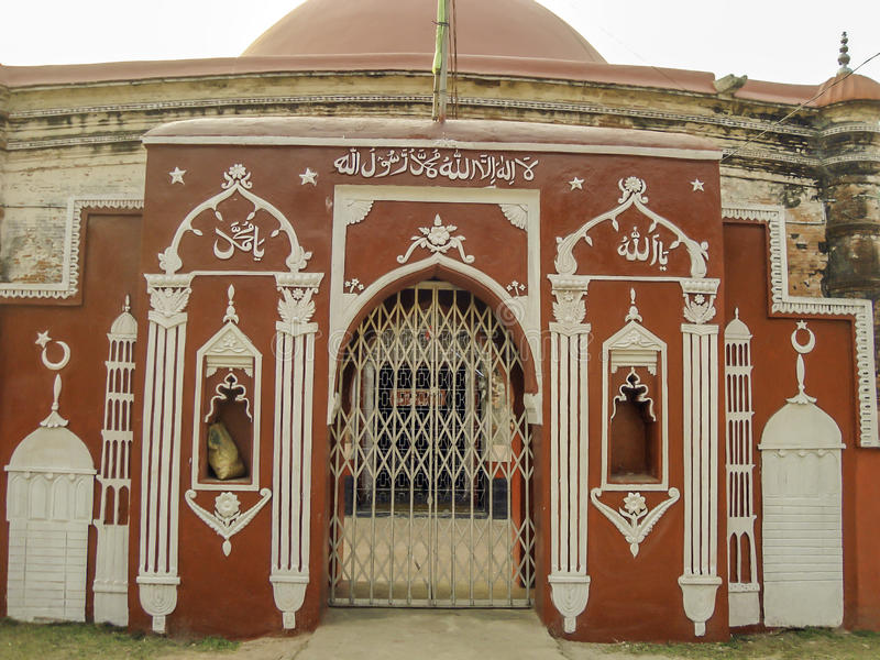 Tomb gate of Khan Zahan Ali in Bagerhat, Bangladesh. Tomb of Khan Jahan Ali – a fine one storied building, It has a beautiful dome. Hazrat Khan Jahan Ali royalty free stock images