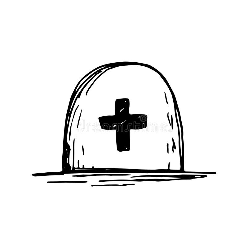 Tomb grave with cross sketch vector isolated black vector illustration