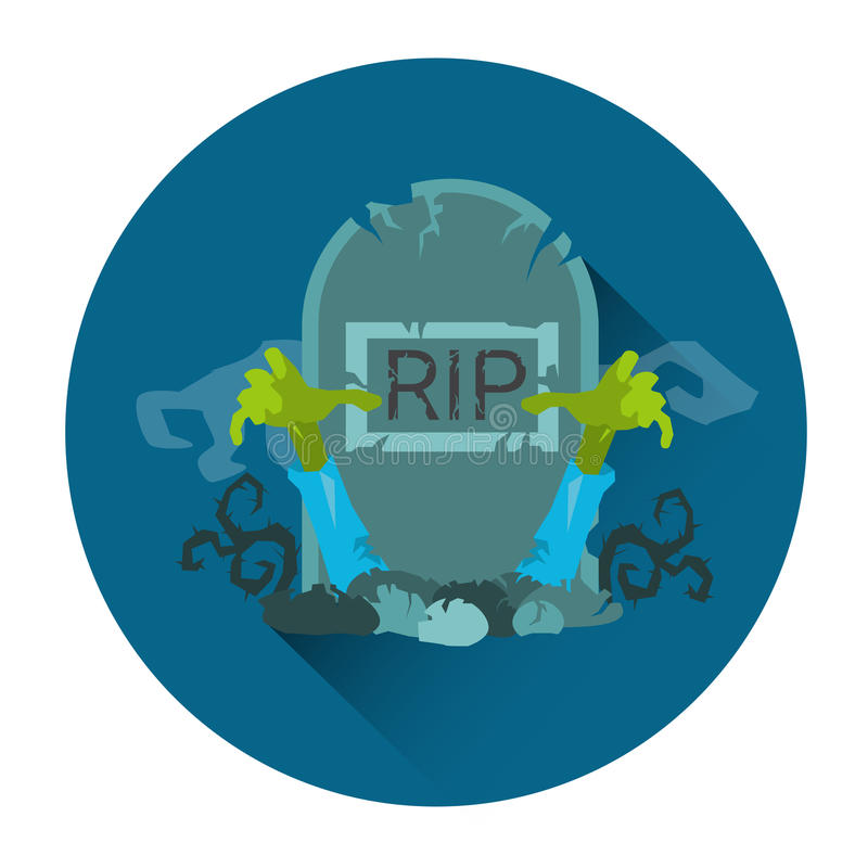 Tomb Grave RIP Stone Zombie Halloween Holiday Icon. Flat Vector Illustration vector illustration