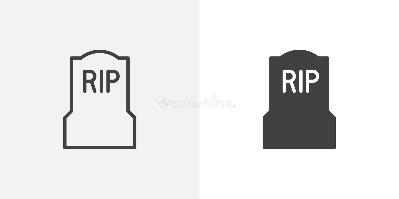 Tomb, headstone icon. Line and glyph version, outline and filled vector sign. Cemetery, Grave linear and full pictogram. Symbol, logo illustration. Different royalty free illustration