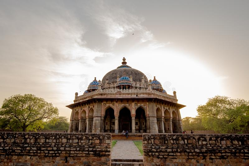 Tomb of Isa Khan in Delhi, India. Tomb of Isa Khan on Humayun`s Tomb complex in Delhi, India with beautiful sky and garden view stock image