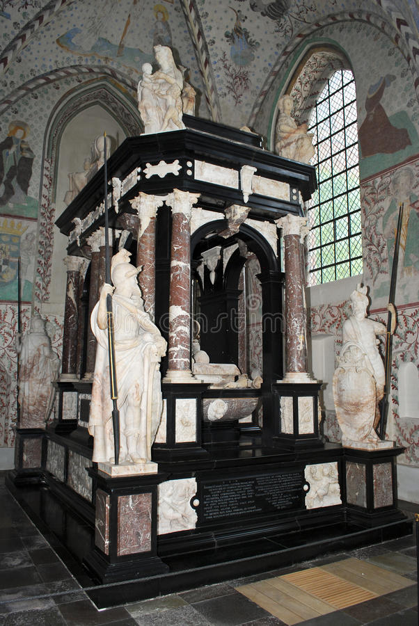 Tomb of King Frederick II in Rockilde cathedral. Tomb of King Frederick II of Denmark in Rockilde cathedral who died in 1588 stock photos