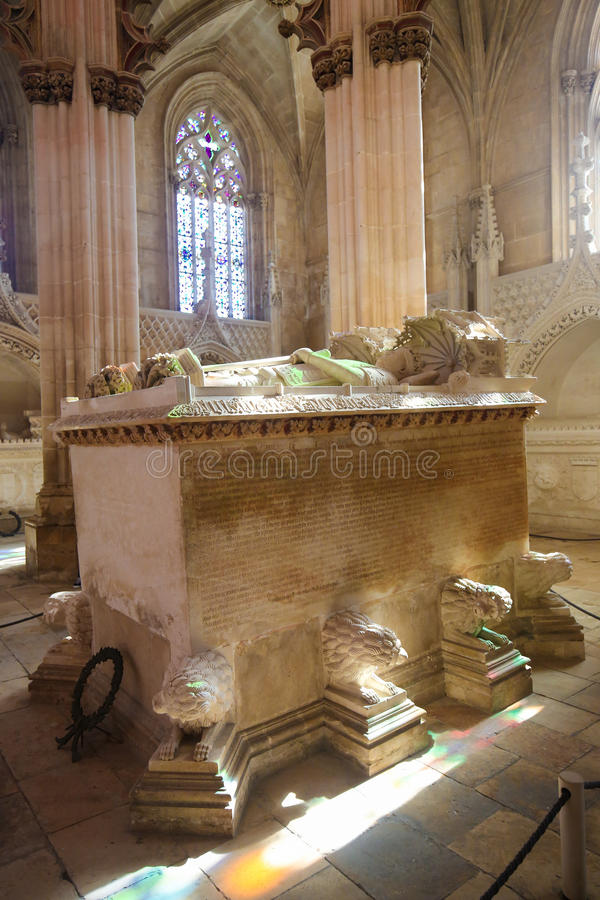 Tomb of King John I and Philippa at Batalha Monastery in Portuga stock images