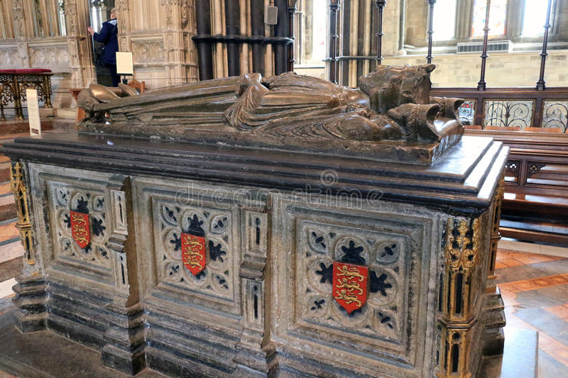 Tomb of King John. King John was buried in Worcester Cathedral, there is also a plaque for Elgar the composer on a wall stock image