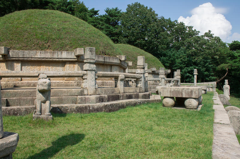 Tomb of King Kongmin. A 14th-century mausoleum located in Haeson-ri, Kaepung County, outside of the city of Kaesong, North Korea stock photography
