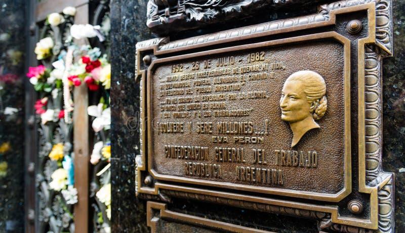 The tomb of Maria Eva Duarte de Peron stock image