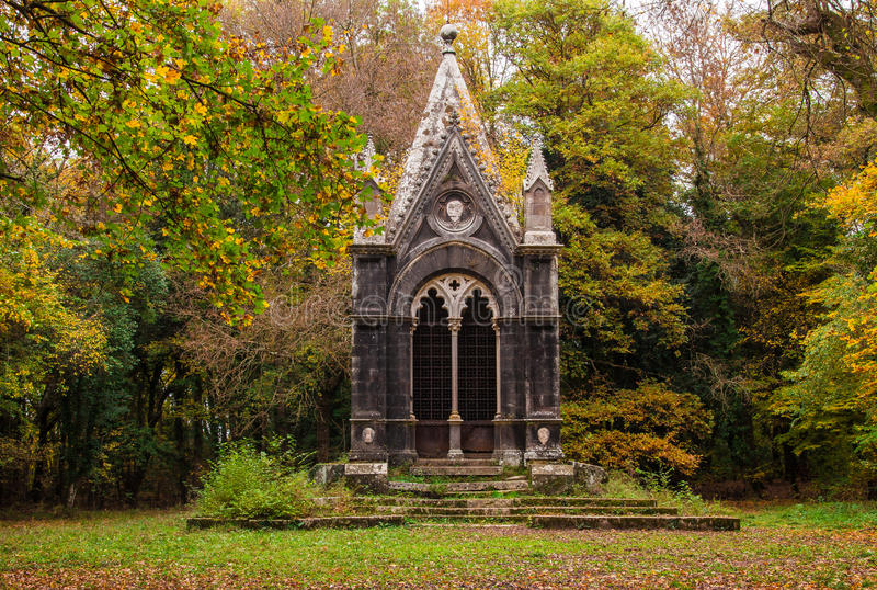 Tomb of the marquis Cahen in the Sasseto woods. Autumn landscape with Tomb of the marquis Cahen in the Sasseto woods, Lazio - Italy stock photos