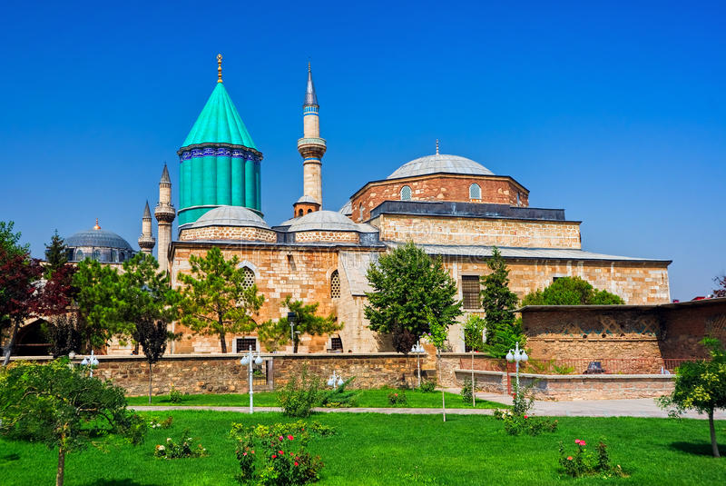 Tomb of Mevlana, Konya, Turkey. Tomb of Mevlana, the founder of Mevlevi sufi dervish order, with prominent green tower in Konya, Turkey stock photo