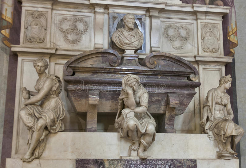 Tomb of Michelangelo in Basilica di Santa Croce, Florence royalty free stock photo