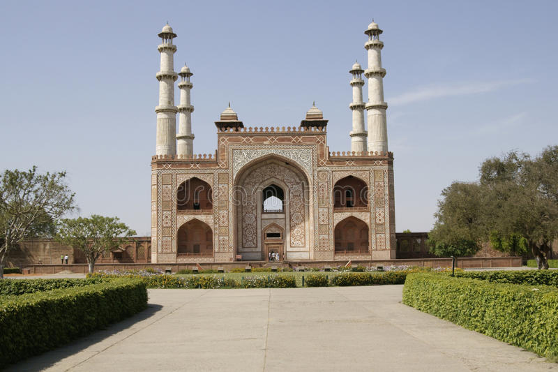 Tomb of a Mughal Emperor. Imposing entrance to the tomb of mughal emperor Akbar at Sikandra on the outskirts of Agra in India royalty free stock images