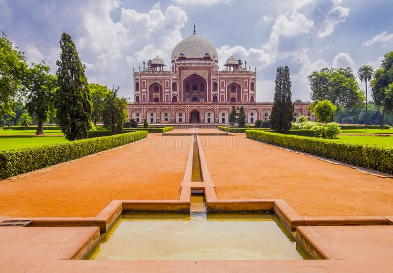 Tomb of Mughal Emperor Humayun, Delhi, India. Tomb of Mughal Emperor Humayun surrounded by Char Bagh gardens, Delhi, India royalty free stock photos