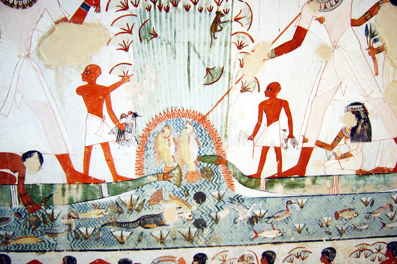 Tomb of nackt. A fresco in the ancient tomb of nackt in egypt royalty free stock images