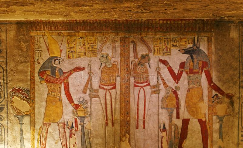 Tomb painting in the Valley of the Kings royalty free stock images