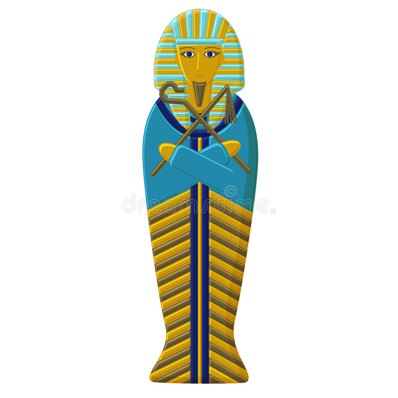 The tomb of the pharaoh of ancient Egypt. Sarcophagus of the Faro. Mummy of the Egyptian ruler. The tomb of the pharaoh of ancient Egypt. Gold Sarcophagus of the royalty free illustration