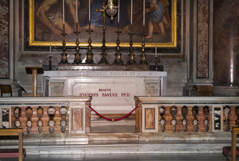 Tomb of Pope John Paul II.Vatican.Italy royalty free stock photo