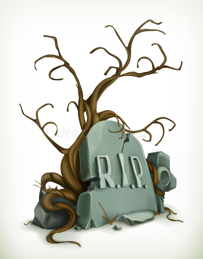 Tomb, rest in peace stock illustration