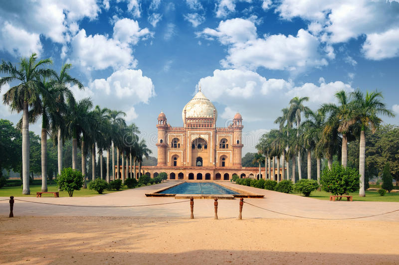 Tomb of Safdarjung view with arch. New Delhi, India stock image