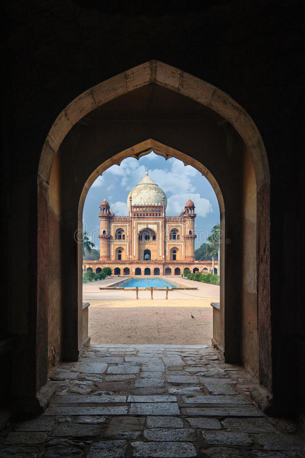 Tomb of Safdarjung view with arch. New Delhi, India stock images