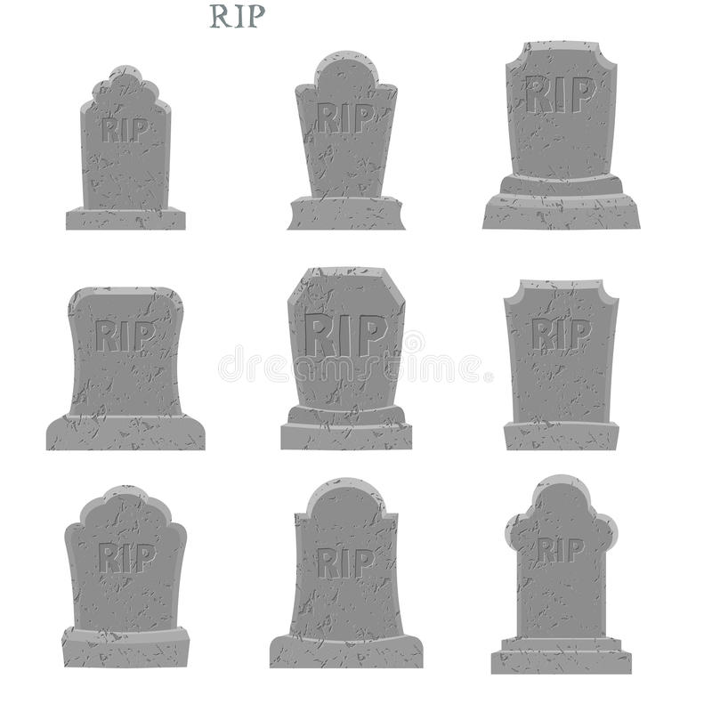 Tomb set. Ancient RIP. Collection of gravestones. Grave on white. Background vector illustration