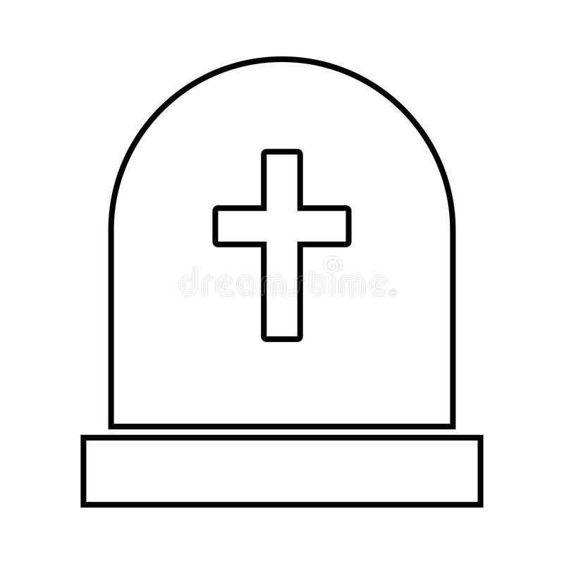 Tomb stone it is black icon . Flat style stock illustration
