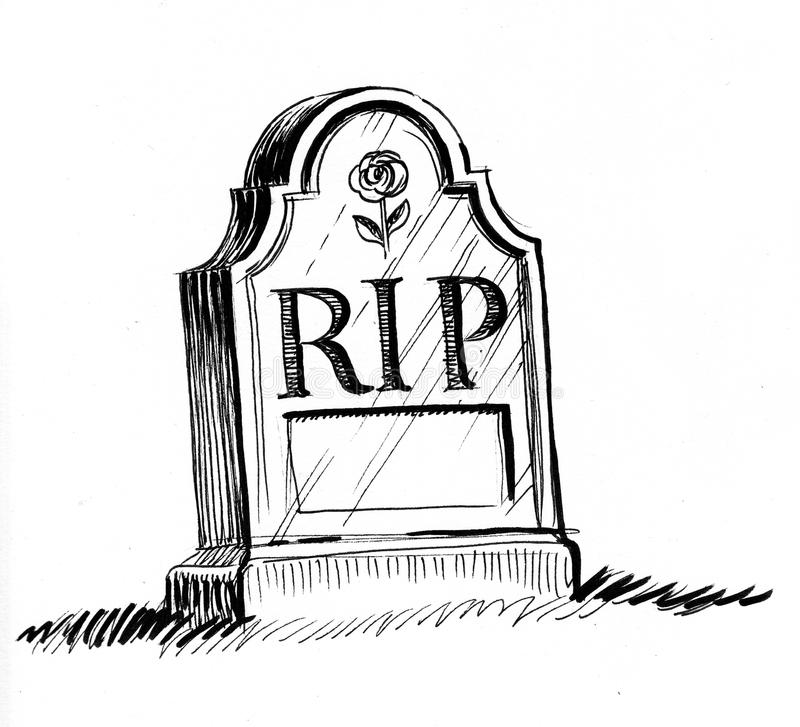 Tomb stone. Ink black and white illustration of a tomb stone with a RIP letters vector illustration