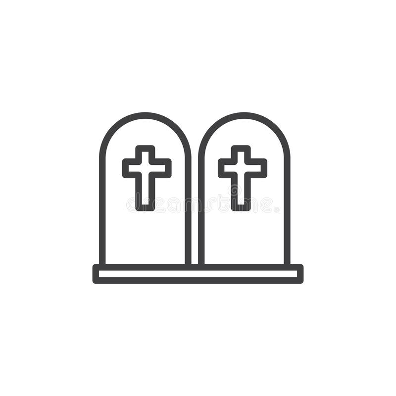 Tomb stone line icon. Linear style sign for mobile concept and web design. Two graves with cross outline vector icon. Symbol, logo illustration. Vector royalty free illustration