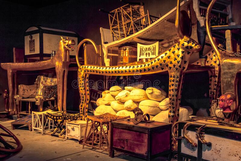 The tomb and treasures of King Tut royalty free stock photo