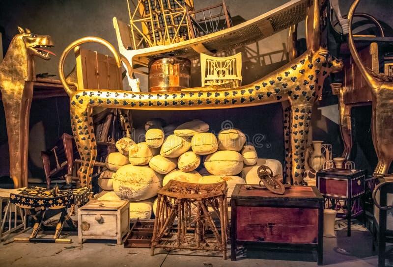 The tomb and treasures of King Tutankhamun stock image
