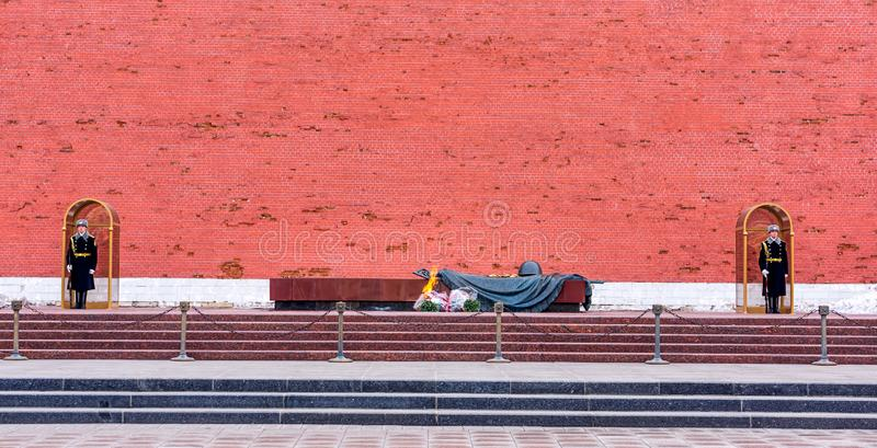 Tomb of the Unknown Soldier guarded by two honour guard soldiers at the Kremlin Wall. Moscow, Russia April 2013 Tomb of the Unknown Soldier guarded by two honour royalty free stock photo