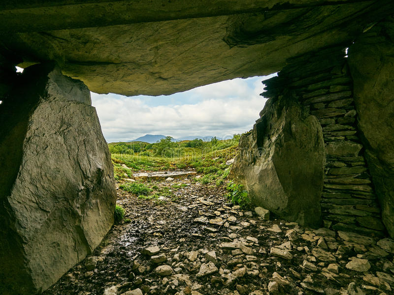 A Tomb With A View. Capel Garmon Wales UK a long burial chamber from the Neolithic or late stone age. Estimated to be 5,500 years old the dead were buried stock images
