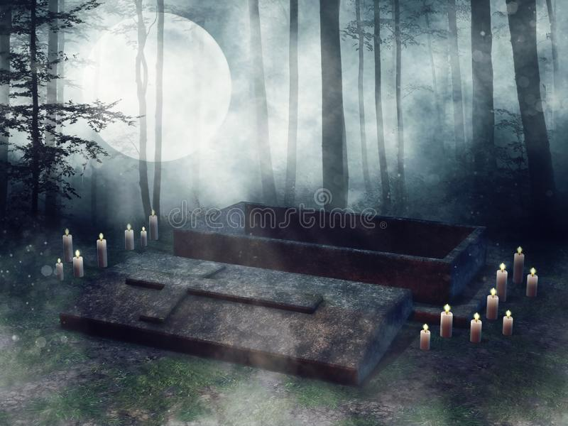 Tomba aperta con le candele illustrazione di stock