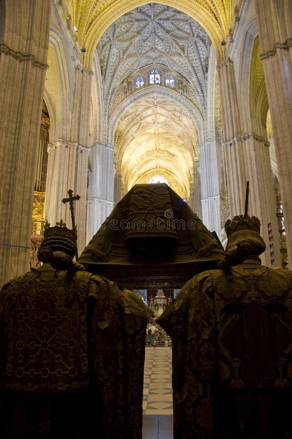 Tomba cattedrale di Columbus, Siviglia fotografia stock