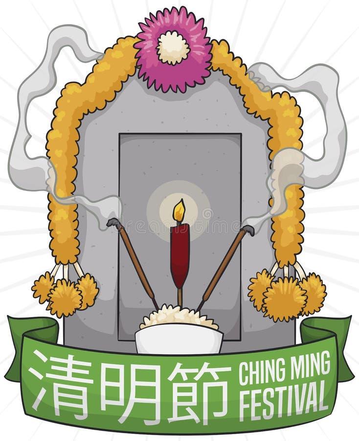 Tomba con i fiori ed offrire celebrare Ching Ming Festival, illustrazione di vettore royalty illustrazione gratis