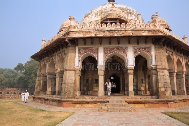 Tomba di Isa Khan Niyazi al complesso della tomba di Humayun, Delhi, India immagine stock libera da diritti