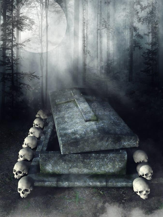 Tomba di pietra con i crani royalty illustrazione gratis
