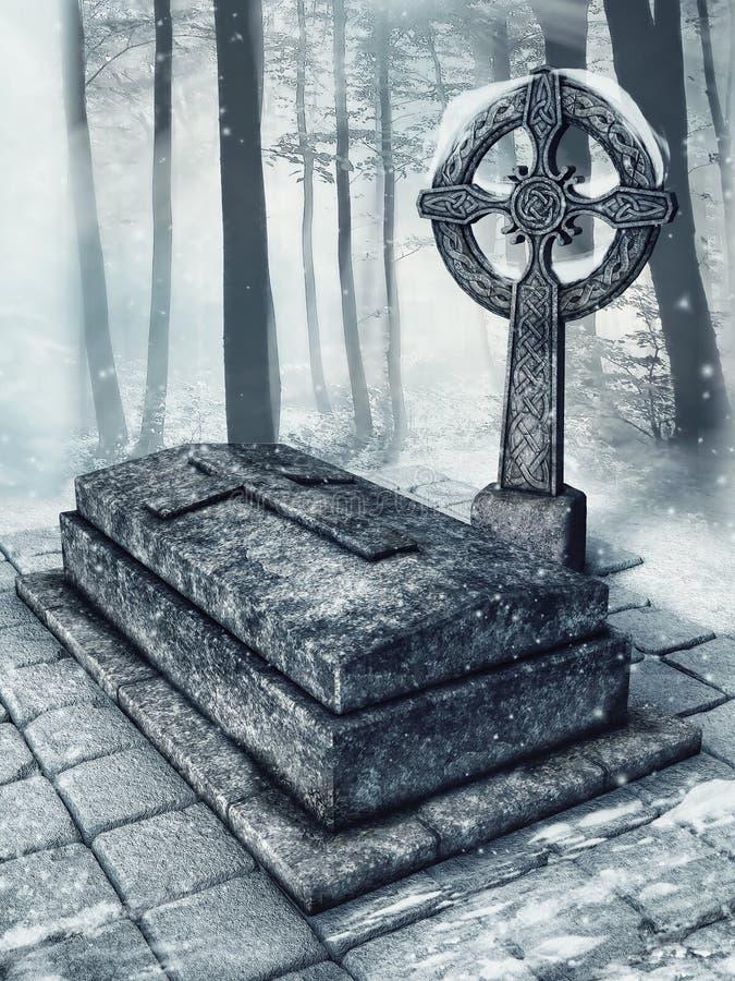 Tomba di pietra in una foresta illustrazione vettoriale